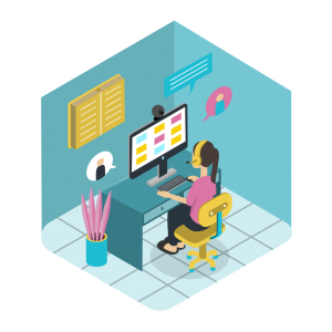 Illustration of a woman sitting at desk on Zoom call. She has an excellent learning environment setup.