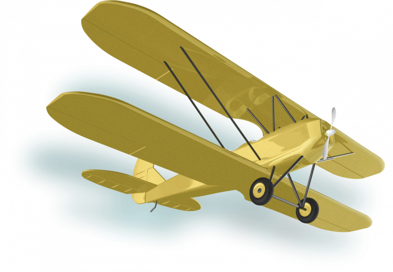 Yellow Biplane flying to the right